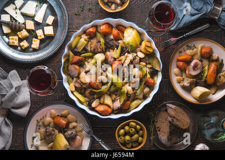 Ready-made kasul, cheese, bread, olives on the table - Stock Photo