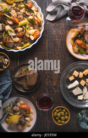 Serving with kasul, cheese, bread, olives, wine on the table free space - Stock Photo