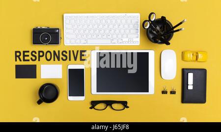 top view responsive web design header - Stock Photo