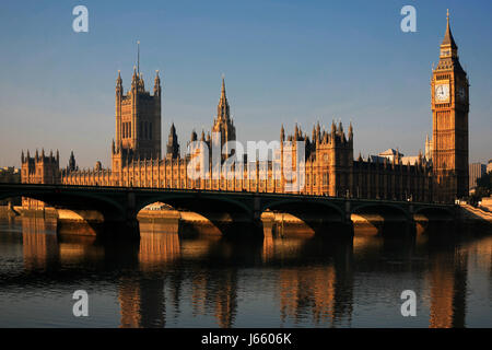Houses of Parliament early in the morning, taken from the Southbank - Stock Photo