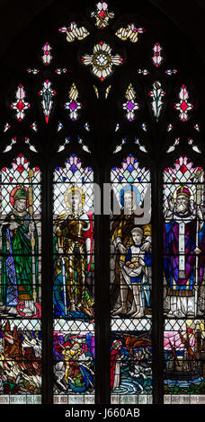 The First World War memorial window by Christopher Whall in St. Peter's Church, Norton on Derwent, North Yorkshire, - Stock Photo