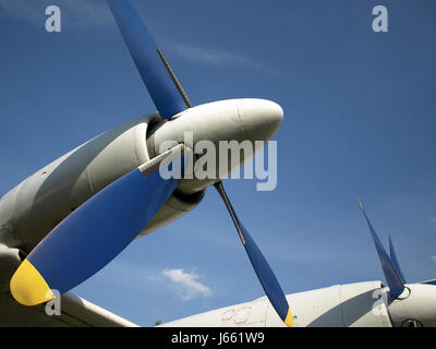 propeller detail admission aircraft aeroplane plane airplane blue detail - Stock Photo