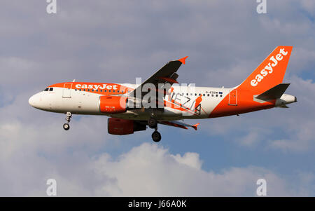 Toulouse, France - April 14, 2017: EasyJet Airbus A319 with Venezia special livery approaching to Toulouse-Blagnac - Stock Photo