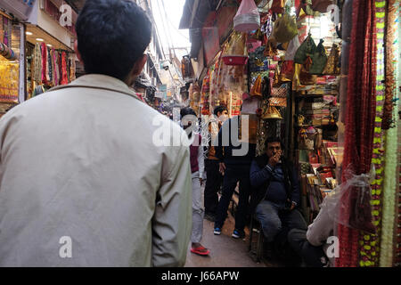 Crowded Indian side street in Old Delhi, India on February, 13, 2016. - Stock Photo