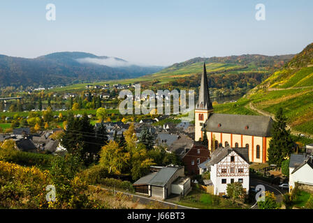church agriculture farming wine vineyards mosel germany german federal republic - Stock Photo
