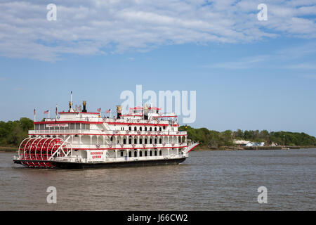 Savannah, GA - March 27, 2017:  The Georgia Queen is an 1800s style paddlewheel riverboat and tourist attraction - Stock Photo