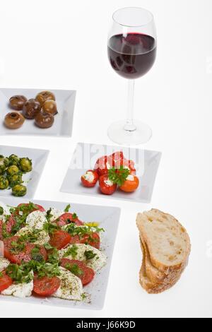 antipasti misti and bread - Stock Photo