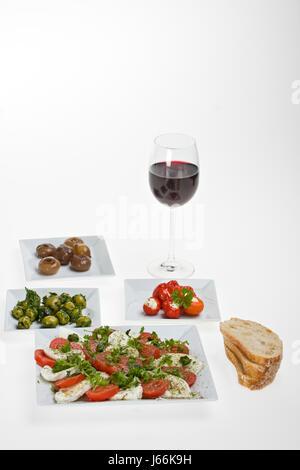 bread wine onion olive starter snack bread wine red wine plate dainty taste - Stock Photo