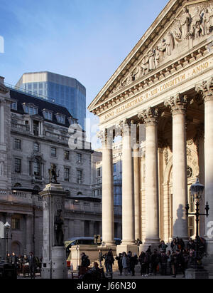 Obscured view with Bank of England in foreground. Angel Court, London, United Kingdom. Architect: Fletcher Priest, - Stock Photo