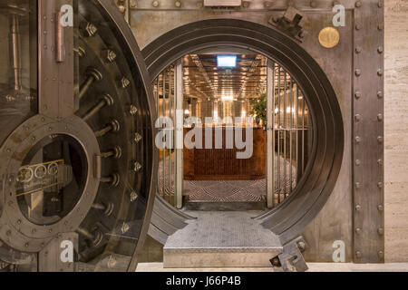 Entrance to cocktail bar in the old safety deposit vault (used in the film Goldfinger). The Ned Hotel, London, United - Stock Photo