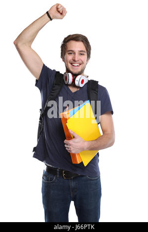 Student successful success happy happiness young man portrait people isolated on a white background - Stock Photo