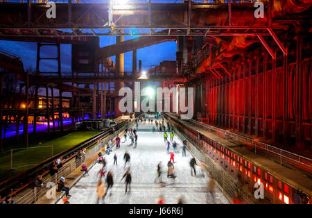 Ice-skating rink, ice-rink, cooking plant Zollverein, Zollverein Coal Mine Industrial Complex, UNESCO world cultural - Stock Photo