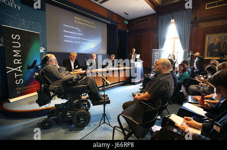 Professor Stephen Hawking (left) at The Royal Society in London speaking at a press conference previewing the Starmus - Stock Photo