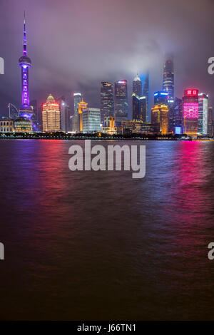 Skyline of the Pudong District viewed from the Bund across the Huangpu River in Shanghai, China