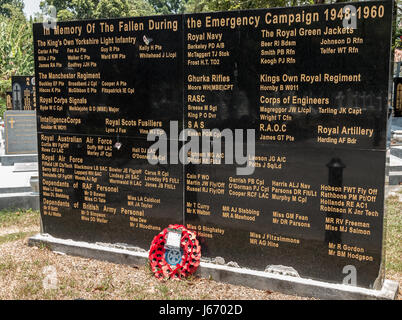 Memorial to fallen soldiers during the Malay Emergency campaign. Western Road Cemetery on the island of Penang, - Stock Photo
