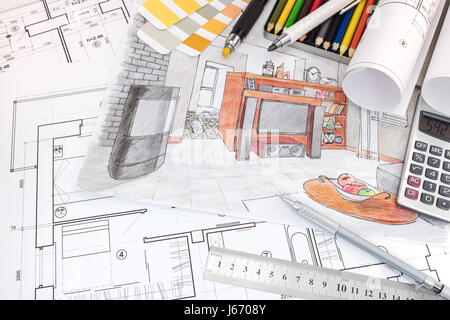 interior designer workplace with sketches of apartment and drawing tools - Stock Photo