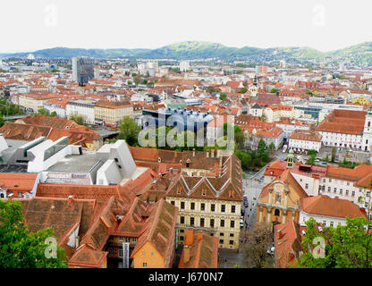 Breathtaking cityscape view of Glaz as seen from the Schlossberg or the Castle Hill, Glaz, Austria - Stock Photo