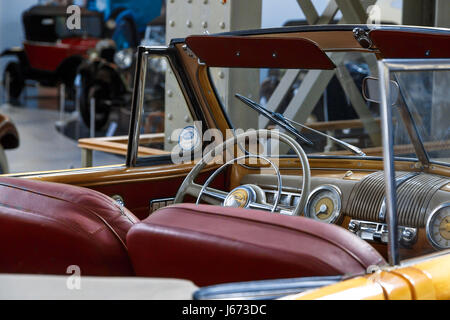 BRUSSELS, BELGIUM - JULY 9, 2016 : Automotive museum with classical automobiles collection exhibition in Cinquantenaire - Stock Photo
