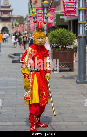 Street performer in Yinchuan, Ningxia, China - Stock Photo