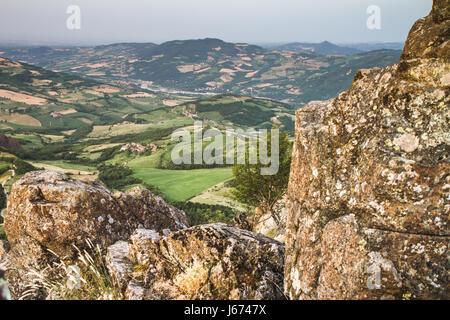 Hills of Piacenza, panorama . Scenic view from Pietra Parcellara, Val Trebbia, Piacenza, Italy - Stock Photo