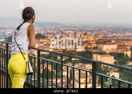 Bergamo, Lombardy, Italy. Bell towers and roofs in Upper Town - Stock Photo