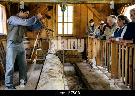 Mackinaw City Michigan Mackinac State Historic Parks Park Historic Mill Creek Discovery Park Water-powered Sawmill - Stock Photo