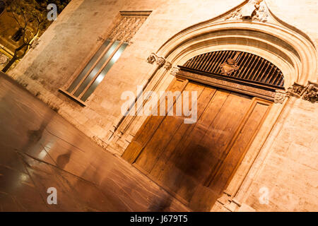Silk Exchange historical buildings at night. Valencia, Spain - Stock Photo