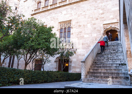 Amazing Silk Exchange buildings outside view. Valencia, Spain - Stock Photo