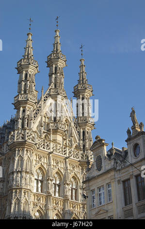 Town Hall Belgium Facade Lions Tower Art Culture Work Of Sightseeing