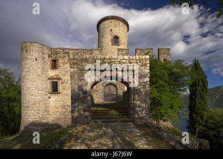 Rocca Martinengo Castle on Monte Isola on Iseo Lake, Italy - Stock Photo