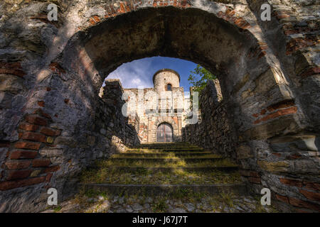 Arch of Rocca Martinengo Castle on Monte Isola, Italy - Stock Photo