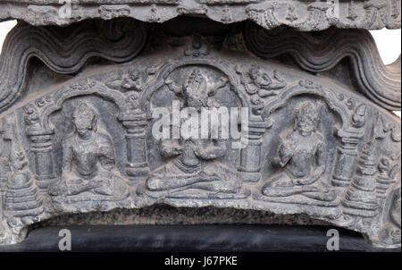 Five dhyani Buddhas, from 11th century found in Bihar now exposed in the Indian Museum in Kolkata, West Bengal, India on
