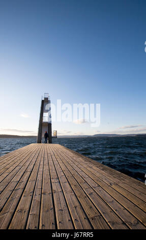 tower board sport sports norway outdoor wave dive high deck salt water sea - Stock Photo