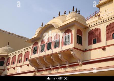 Chandra Mahal in Jaipur City Palace, Rajasthan, India. Palace was the seat of the Maharaja of Jaipur - Stock Photo