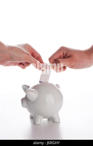 bank lending institution euro save piggy cash cold cash money in cash money - Stock Photo