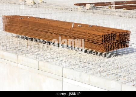 concrete works at building site - Stock Photo