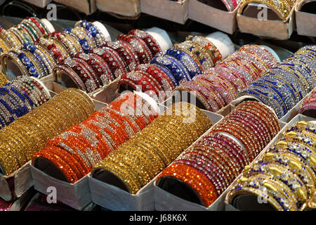 Traditional Indian bangles with different colors and patterns, Pushkar, India on February 10, 2016. - Stock Photo