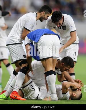 Doha, Qatar. 19th May, 2017. Players of Al-Sadd celebrate winning the Qatar Emir Cup Final soccer match between - Stock Photo