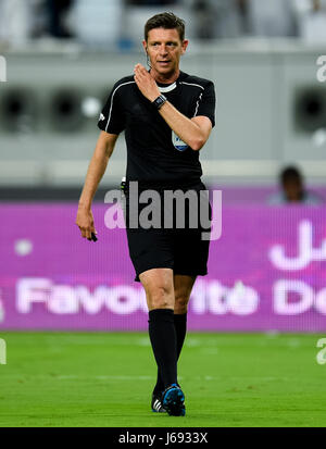 Doha, Qatar. 19th May, 2017. Italian referee Gianluca Rocchi reacts during the Qatar Emir Cup Final soccer match - Stock Photo
