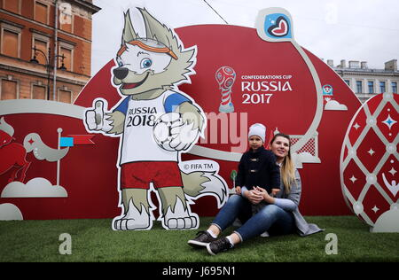 St Petersburg, Russia. 20th May, 2017. Visitors pose in the 2017 FIFA Confederations Cup Park for football fans - Stock Photo