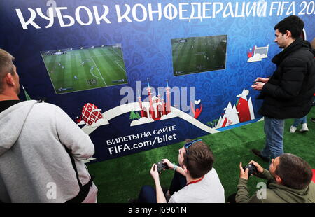 St Petersburg, Russia. 20th May, 2017. Playing video games at a ceremony to open the 2017 FIFA Confederations Cup - Stock Photo