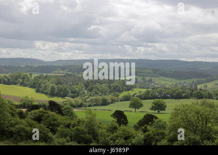 Albury, Surrey, UK. 20th May 2017. Beautiful views across the Surrey hills from Newlands Corner towards Albury on - Stock Photo