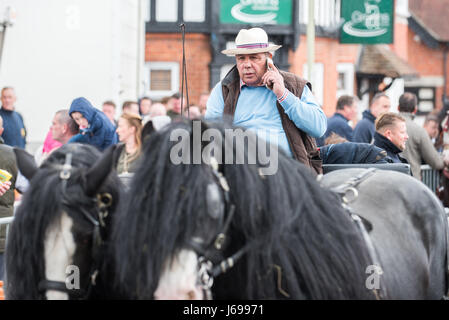 Wickham, Hampshire, United Kingdom. 20th May, 2017. Wickham Horse Fair. Groups of gipsy travellers meet with their - Stock Photo