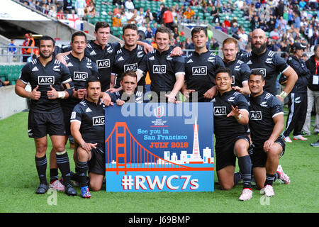 London, UK. 20th May, 2017. The New Zealand Rugby Sevens Team in Twickenham Stadium, London, UK, after their match - Stock Photo