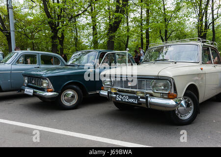 Russia, Moscow. Saturday, May 20, 2017. A show of vintage cars and motor cycles is under way in Sokolniki amusement - Stock Photo
