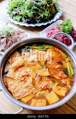 Hot crab hotpot with beef and vegetables in asia - Stock Photo