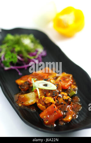 Fried Chicken with Sweet and Sour Pattaya sauce - Stock Photo