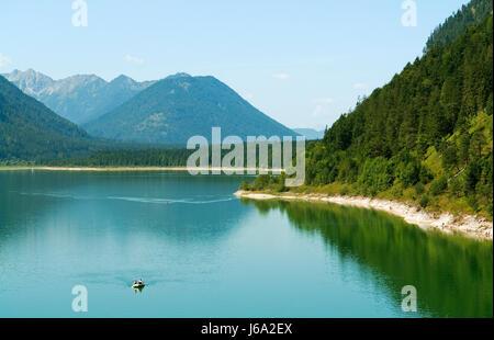 on sylvensteinsee in bavaria - Stock Photo
