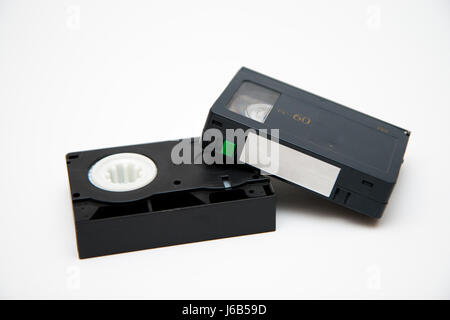 video retro magnetic tape cassette tape sound carrier old engineering digital - Stock Photo