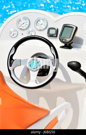 wheel yacht motorboat boat helm instruments rowing boat sailing boat sailboat - Stock Photo